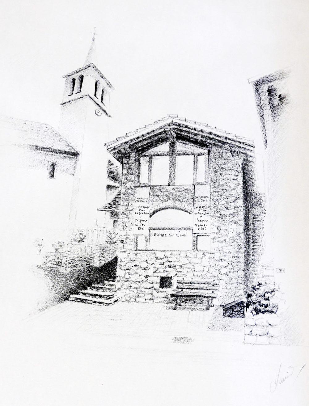 Dessin Musée Saint Eloi à Montgirod 73200 - Atelier Mucyol