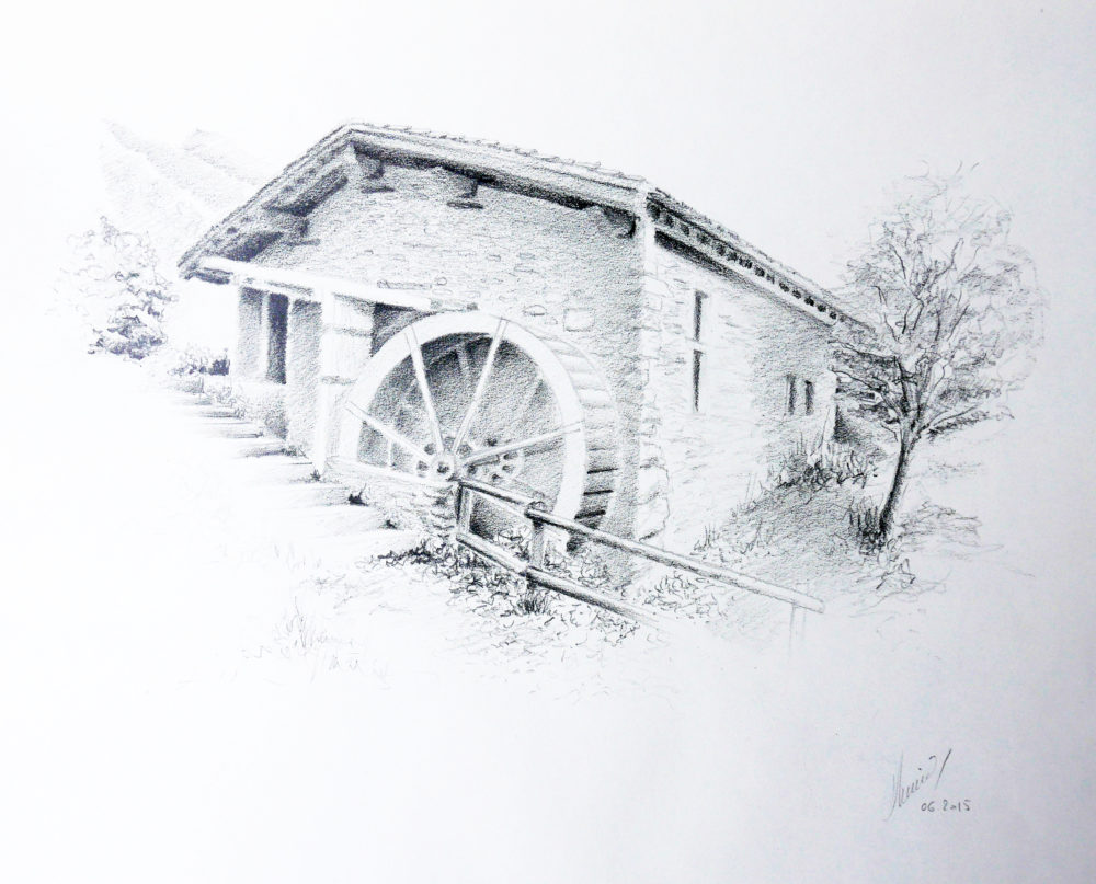 Dessin Moulin Saint Germain - Atelier Mucyol