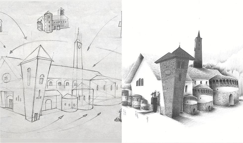 Dessin basilique Saint-Martin et l'église Saint-Sigismond d'Aime la Plagne - Atelier Mucyol