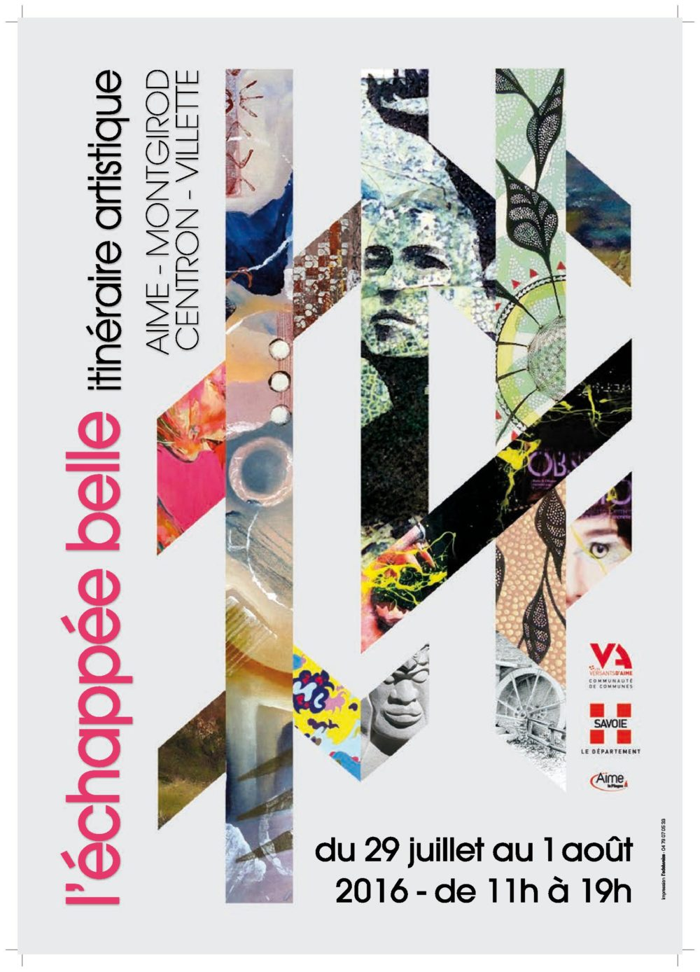 Affiche itinéraire artistique 2016 - Echappée belle - Les versants d'Aime 73200 - Atelier Mucyol
