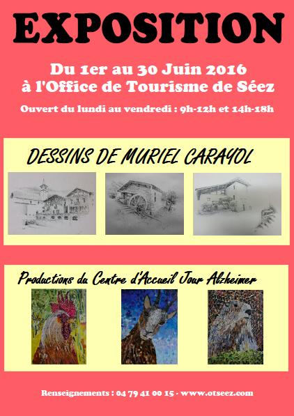 Affiche exposition dessins Muriel Carayol - Atelier Mucyol