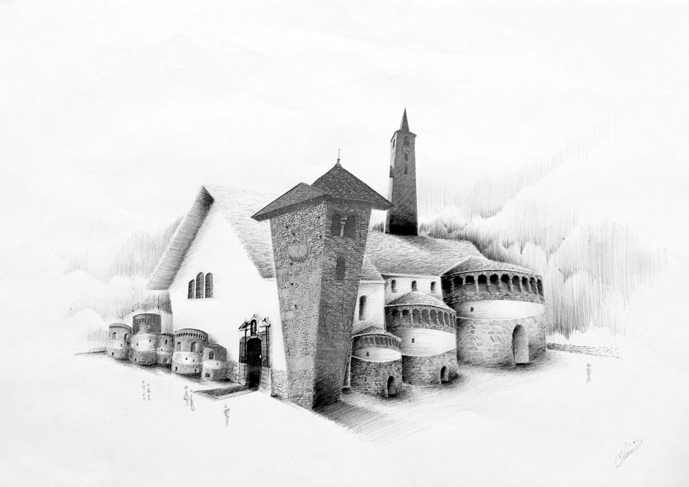 Dessin réel Basilique Saint-Martin et l'église Saint-Sigismond d'Aime 73200