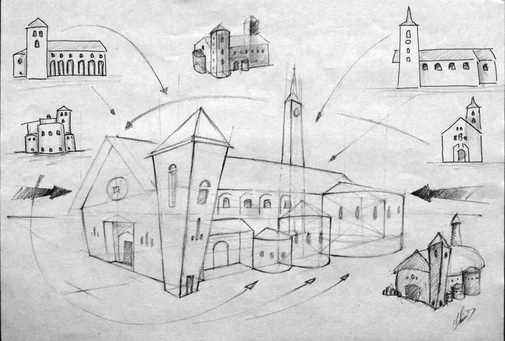 Croquis dessin Basilique Saint-Martin et l'église Saint-Sigismond d'Aime 73200